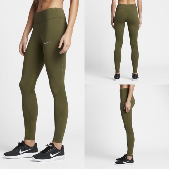 "1843c166b2f6 NIKE EPIC LUX 27.5"" WOMENS RUNNING TIGHTS OLIVE"
